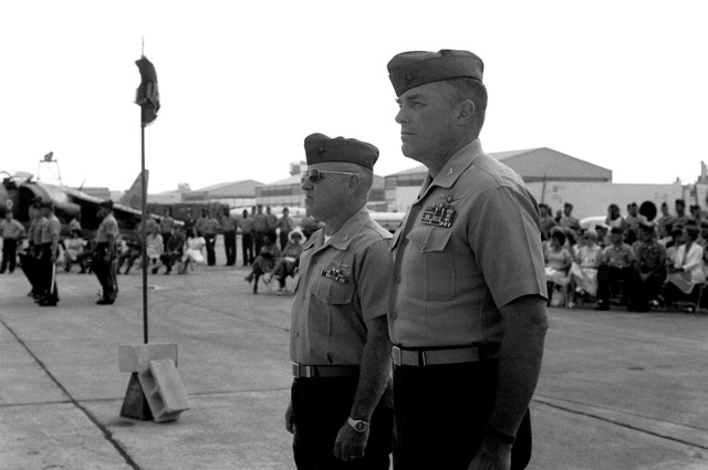 COL Gerald L. Ellis assumes command of Marine Aircraft Group 32 from COL James L. McManaway. Ellis is wearing the sunglasses