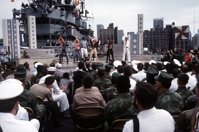 """During the Bob Hope show aboard the amphibious assault ship USS IWO JIMA (LPH-2), the singing group """"Village People"""" sings """"YMCA"""""""