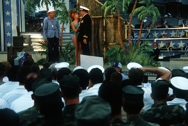 During the Bob Hope show aboard the amphibious assault ship USS IWO JIMA (LPH-2), Bob Hope, Charo and Don Knotts do a skit on the Navy
