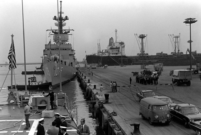 A bow view of the frigate USS TRIPPE (FF-1075) docked during exercise Unitas XX