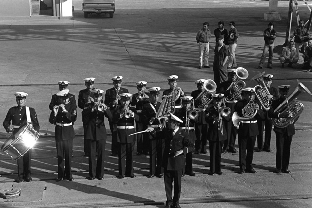 A Chilean navy band performs for the arriving Unitas XX task force during exercise Unitas XX