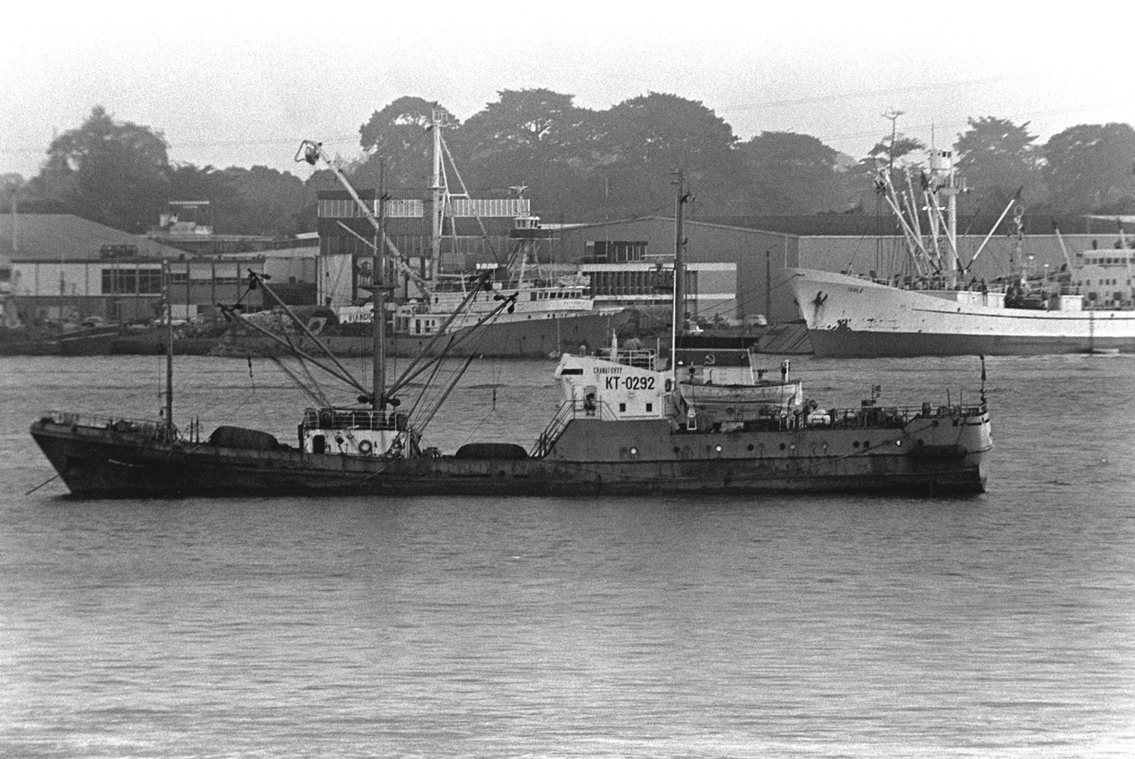 A port beam view of a Soviet trawler anchored offshore during exercise Unitas XX