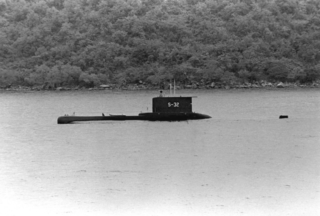 A port beam view of the Venezuelan submarine CARIBE (S-32) during exercise Unitas XX