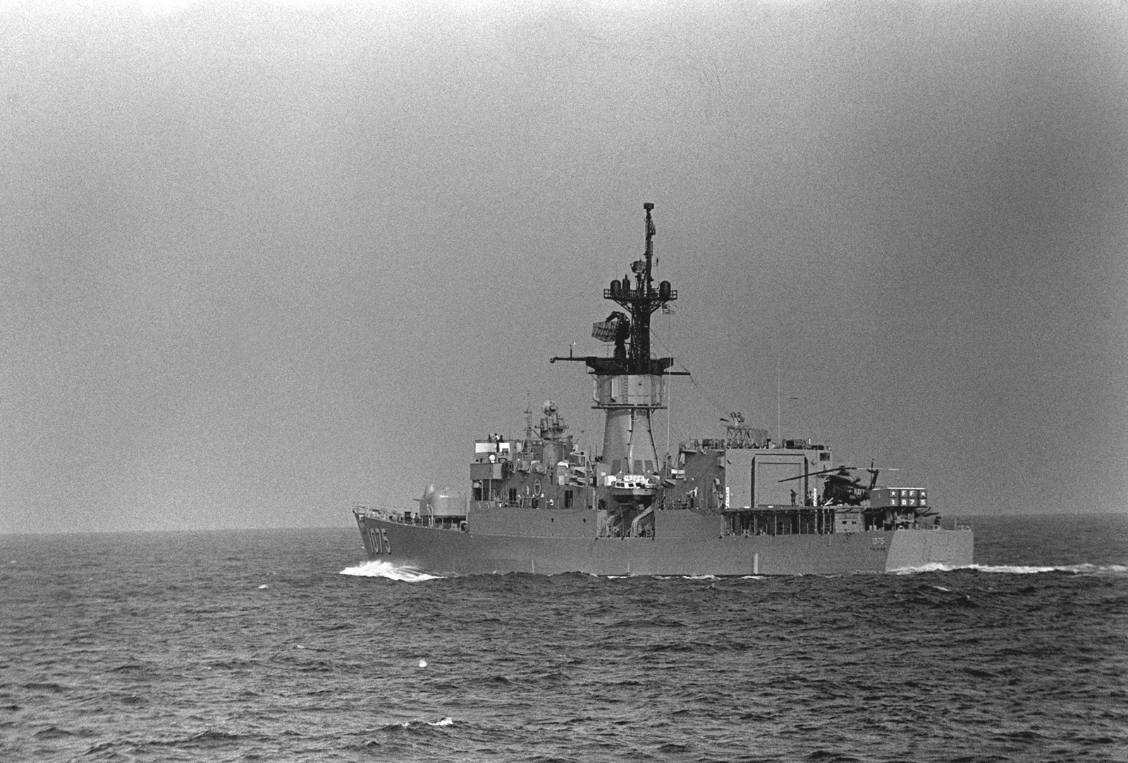 A port quarter view of the frigate USS TRIPPE (FF-1075) during Phase 0 of exercise Unitas XX