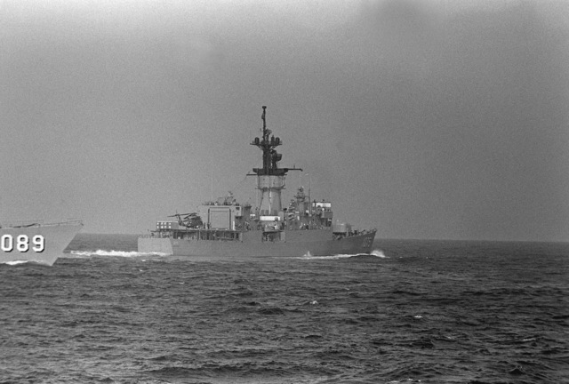 A starboard quarter view of the frigate USS TRIPPE (FF-1075) and a starboard view of the frigate USS JESSE L. BROWN (FF-1089) during Phase 0 of exercise Unitas XX