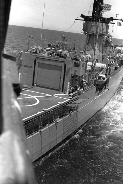 A starboard quarter view of the frigate USS TRIPPE's (FF-1075) flight deck and hangar during exercise Unitas XX