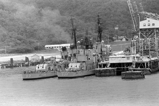 A stern view of the Venezuelan destroyers CARABOBO (D-21) and FALCON (D-22) as they are docked during exercise Unitas XX