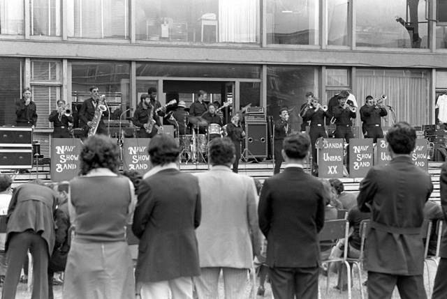 An audience looks on as the Navy show band performs during exercise Unitas XX