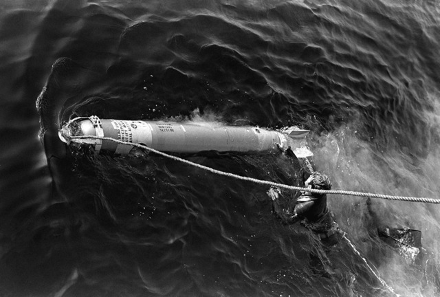 One of the six 12.75-inch torpedoes from the guided missile destroyer USS DEWEY (DDG-45) is recovered by a diver during exercise Unitas XX