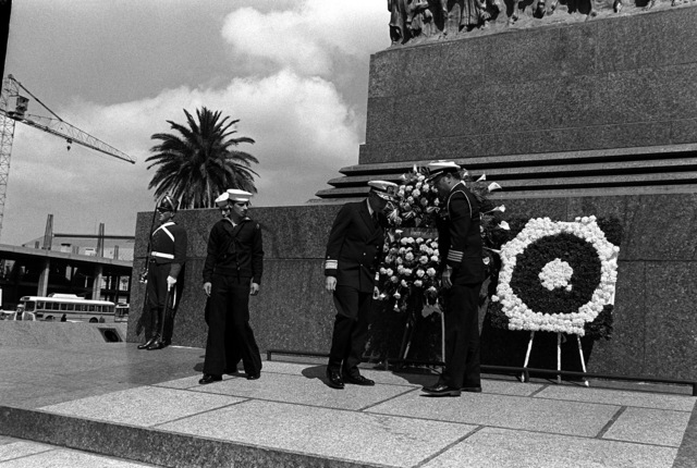 RADM John Ekelund, commander of the exercise Unitas XX task force, participates in a wreath laying ceremony along with a U.S. Navy captain during exercise Unitas XX
