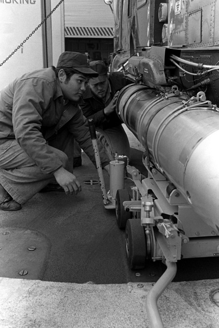 Two crewmen, aboard the frigate USS TRIPPE (FF-1075), load a Mark 46 anti-submarine warfare torpedo onto an SH-2F Seasprite light airborne multi-purpose system (LAMPS) helicopter on the flight deck during exercise Unitas XX. The helicopter is assigned to Light Helicopter Anti-submarine Squadron 36 (HSL-36)