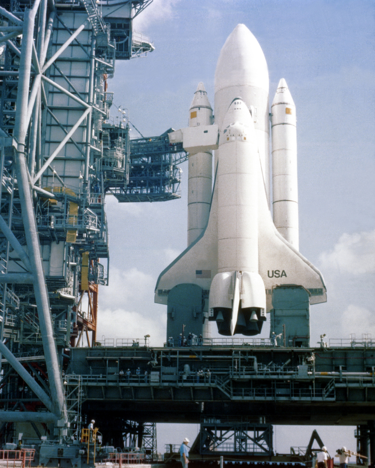 A dummy space shuttle orbiter was assembled and rolled out to the launch site as part of an exercise to verify that shuttle elements are compatible with the spaceport's assembly and launch facilities, and ground support equipment