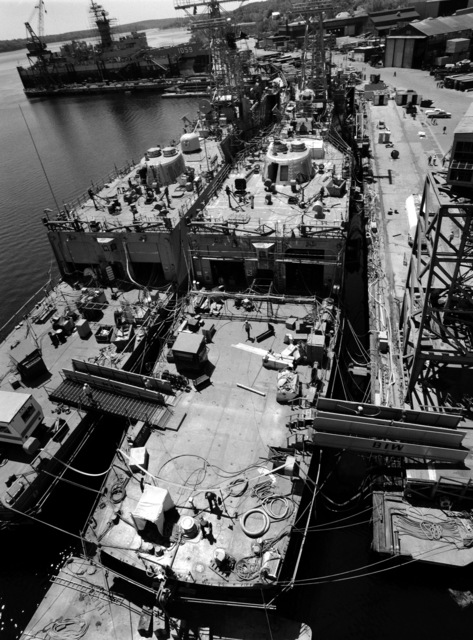 A stern view of two Perry class guided missile frigates under construction