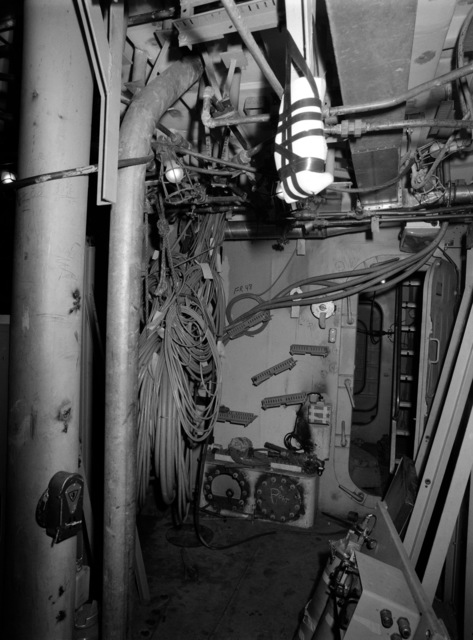 An interior view of the sonar equipment room on the guided missile frigate USS CLARK (FFG 11) under construction