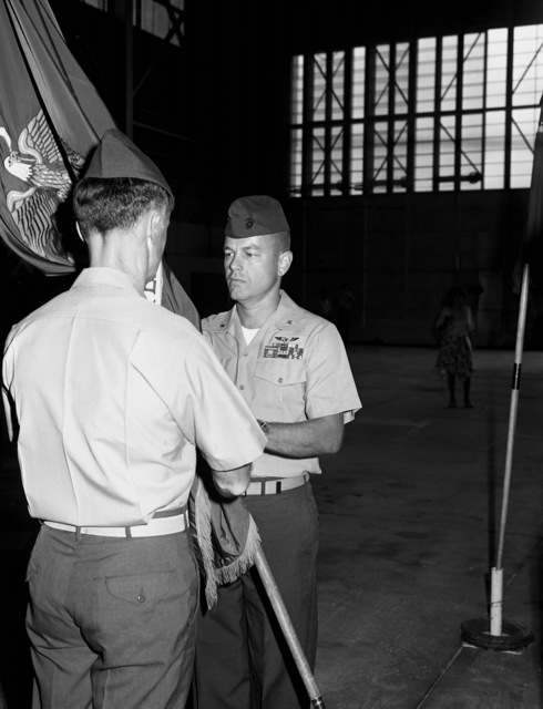 Change of Command ceremony for MAJ Patrick J. Jones (left), commanding officer, Headquarters and Maintenance Squadron-31, who is relieved by MAJ John C. Sease
