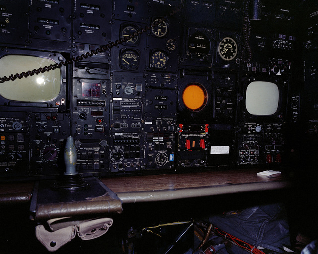 A close-up view of an instrument panel of a B-52 Stratofortress aircraft