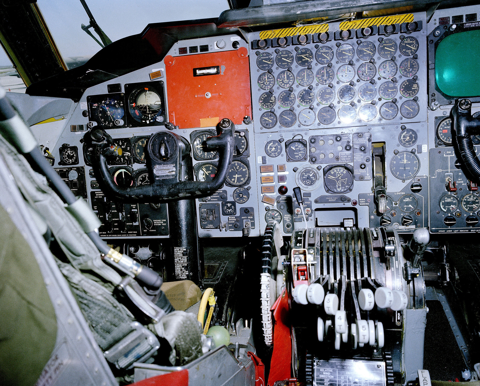 A close-up view of an instrument panel of a B-52 Stratofortress