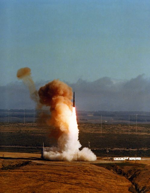 An LGM-30B Minuteman I intercontinental ballistic missile is in flight during a test
