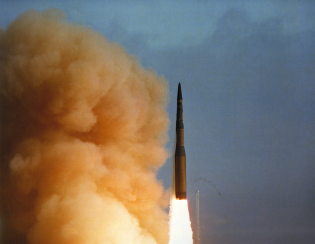 An LGM-30B Minuteman I intercontinental ballistic missile is launched during a test