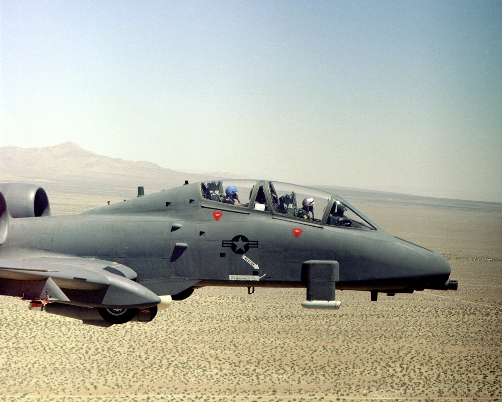 A left side view of the cockpit of the first A-10 Thunderbolt II aircraft in flight