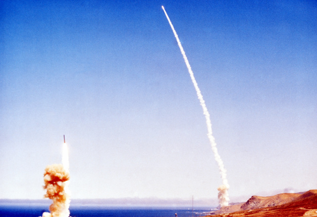 A Minuteman III intercontinental ballistic missile (ICBM) is test fired from Vandenberg Air Force Base, California, to Kwajalein Atoll, Marshall Islands, during exercise Global Shield