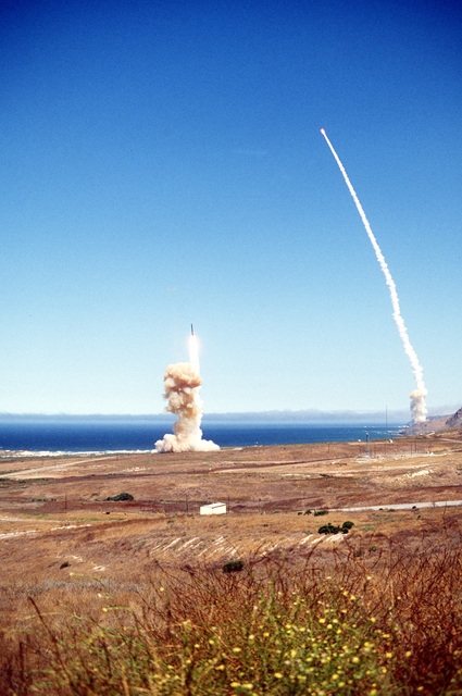 A ripple launch of Minuteman missiles takes place
