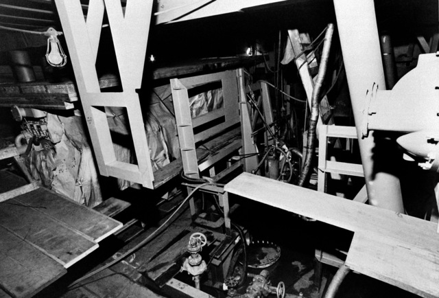 An interior view of auxiliary machine room No. 1 on the guided missile frigate USS FAHRION (FFG 22) at 20 percent completion