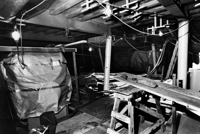 An interior view of auxiliary machine room No. 2 on the guided missile frigate USS FAHRION (FFG 22) at 20 percent completion
