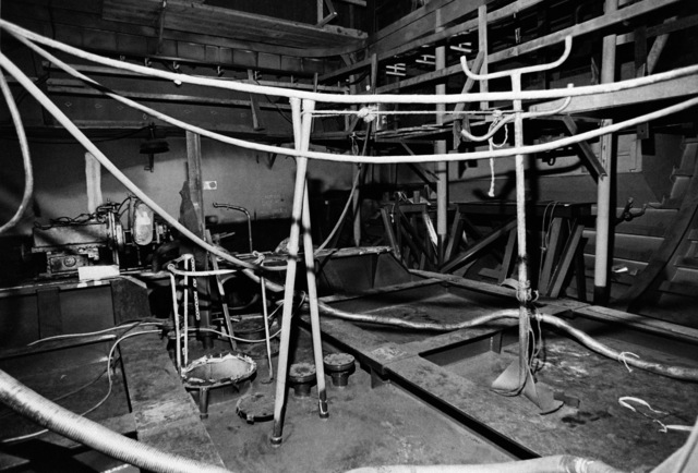 An interior view of the engine room on the guided missile frigate USS FAHRION (FFG 22) at 20 percent completion