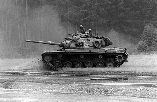An M60A1 main battle tank on manuevers during BRAVE SHIELD XX