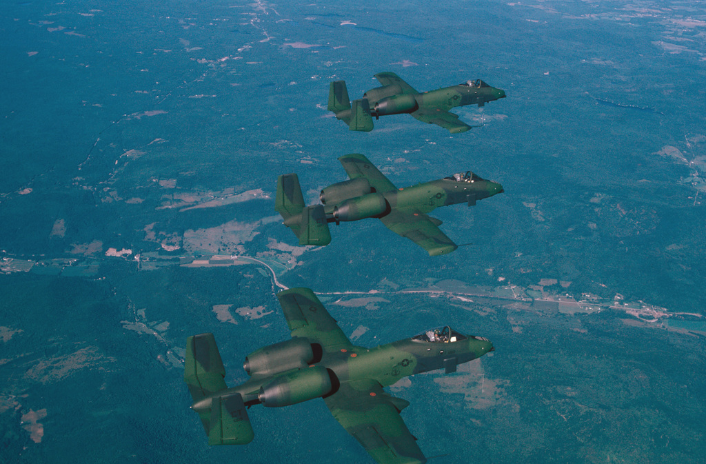 Three Connecticut Air National Guard A-10A Thunderbolt II aircraft fly in formation