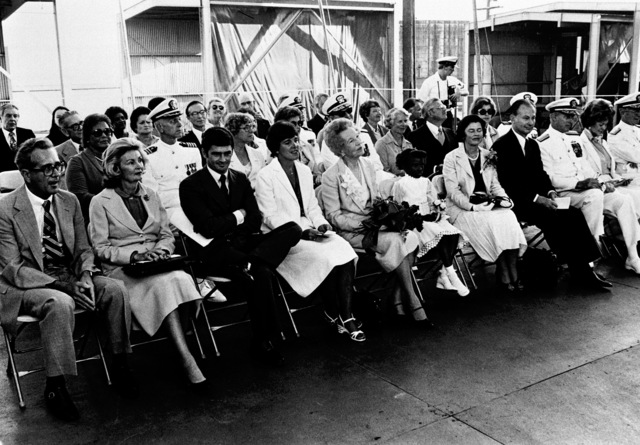 A view of guests attending the launching ceremony for the guided missile frigate FAHRION (FFG-22) at Todd Pacific Shipyards Corporation