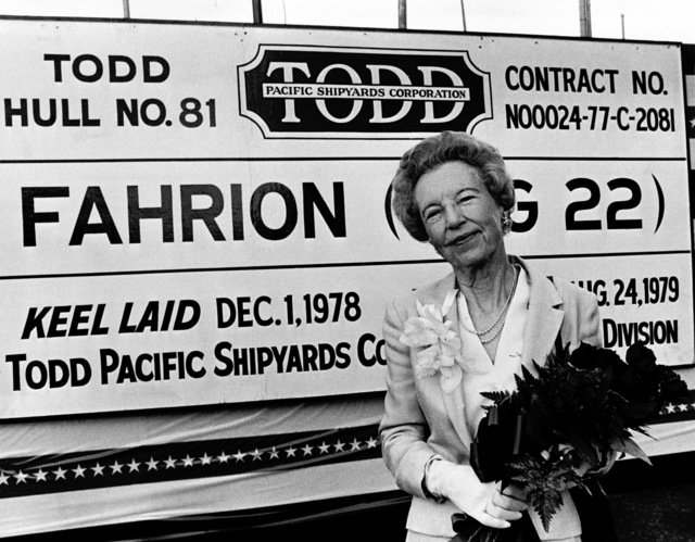 A view of Mrs. Frank G. Fahrion, sponsor, during the launching ceremony for the guided missile frigate FAHRION (FFG-22) at Todd Pacific Shipyards Corporation
