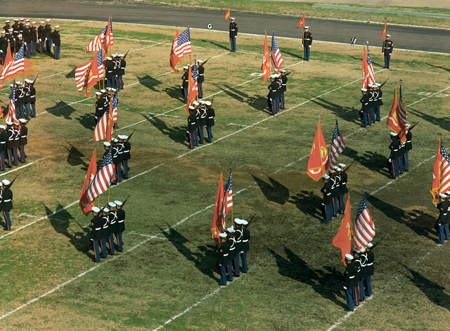 A view of the Marine Corps birthday pageant held in the stadium