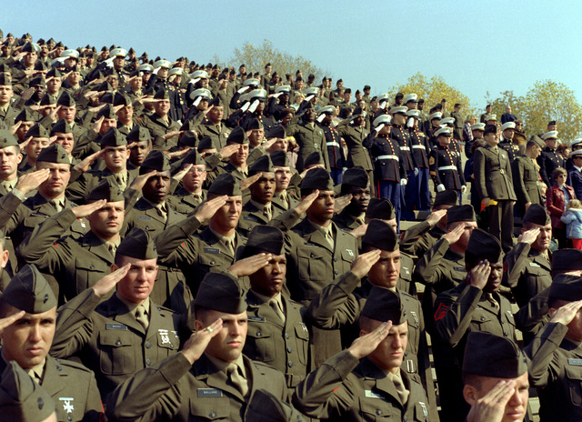 Hundreds of Marines salute during a Marine Corps pageant held in the stadium in honor of the 204th Marine Corps birthday