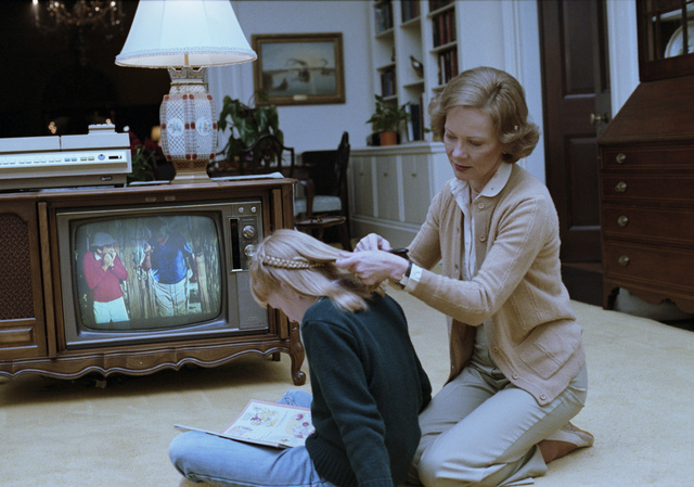 Rosalynn Carter and Amy Carter in the Private Residence of the White House