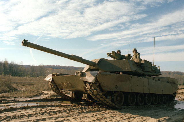 A left front view of the XM-1 Abrams tank, which will replace the M-60 series, during a demonstration on the test range