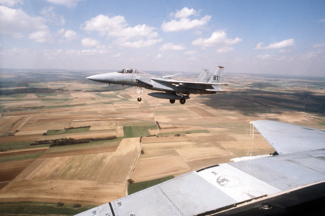 An air Force F-15A Eagle aircraft is in its final approach for a landing
