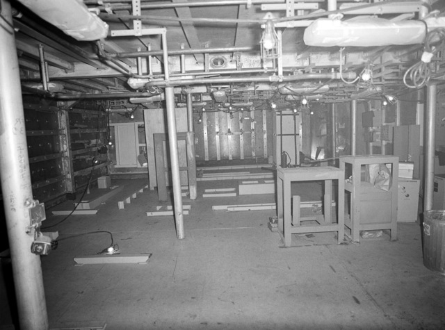 An interior view of the radar, IFF and combat information center space on the guided missile frigate CLARK (FFG 11) under construction