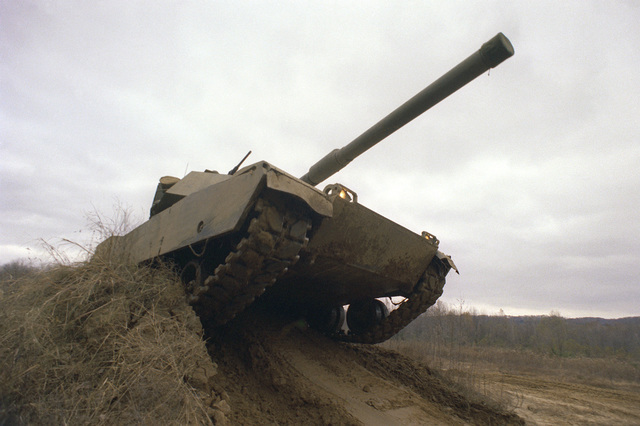 Front view of the XM-1 Abrams tank, which will replace the M-60 series, during demonstration on the test range