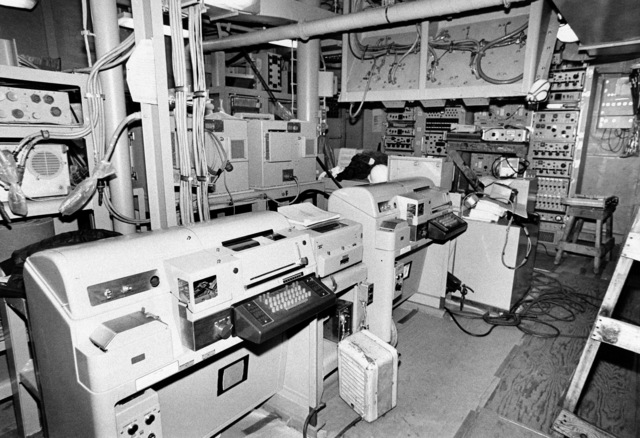 An interior view of communications center on the guided missile frigate DUNCAN (FFG 10) at 90 percent completion