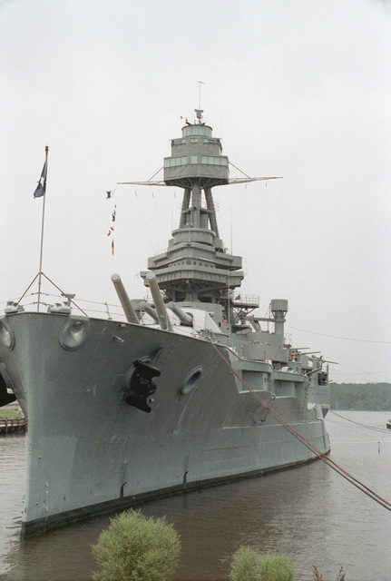A port bow view of the memorial battleship TEXAS (BB-35)