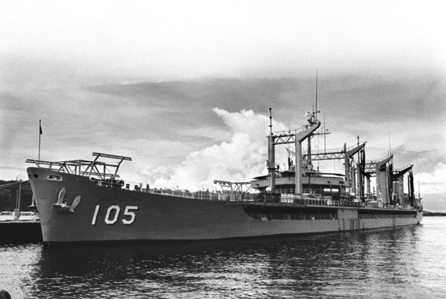 A port bow view of the oiler USNS MISPILLION (T-AO 105) moored in the lagoon
