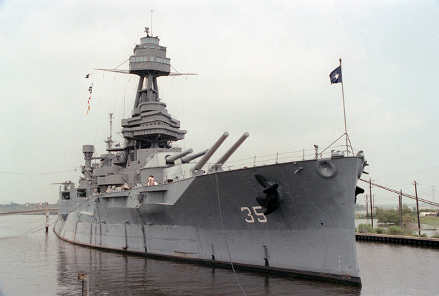 A starboard bow view of the memorial battleship TEXAS (BB-35)