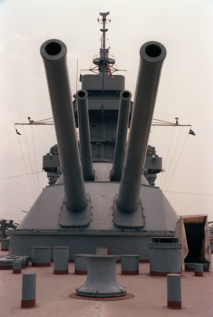 A view of the aft 14-inch/45-caliber guns aboard the memorial battleship TEXAS (BB-35)