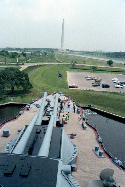 A view of the San Jacinto Battlefield Memorial from the memorial battleship USS TEXAS (BB 35). The ship's forward 14-inch/45-caliber guns are in the foreground