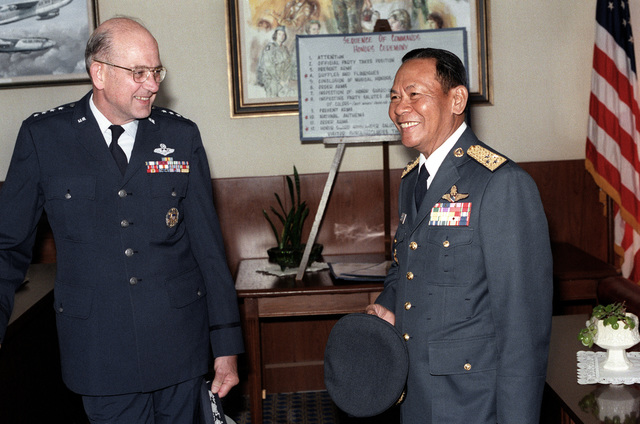 Air Marshall Panieng Karntarat of Thailand talks with GEN Lew Allen, U.S. Air Force chief of staff, after his arrival in the United States for a visit