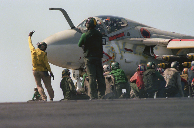 An A-6E Intruder attack aircraft from Medium Attack Squadron 196 (VA-196) prepares for launch aboard the aircraft carrier USS CORAL SEA (CV 43)