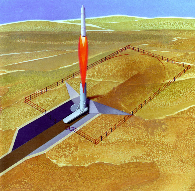 An artist's concept of an M-X missile on its way to the target. The missile weighs approximately 192,000 pounds and will carry 10 warheads