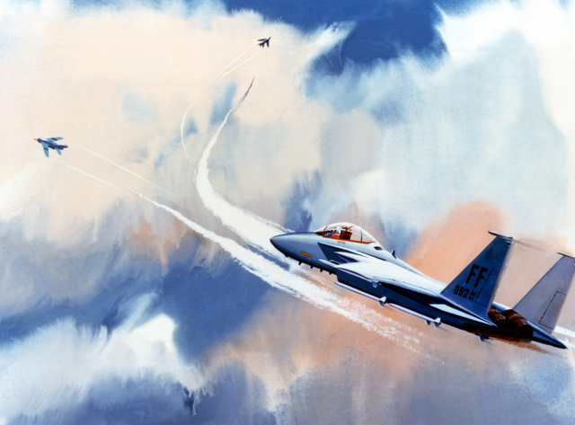 Artist's concept of F-15 Eagle aircraft launching Raytheon version of the Advanced Medium Range Air-to-Air Missile (AMRAAM)